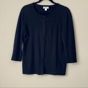 LOFT black cardigan with 3/4 sleeves and buttons
